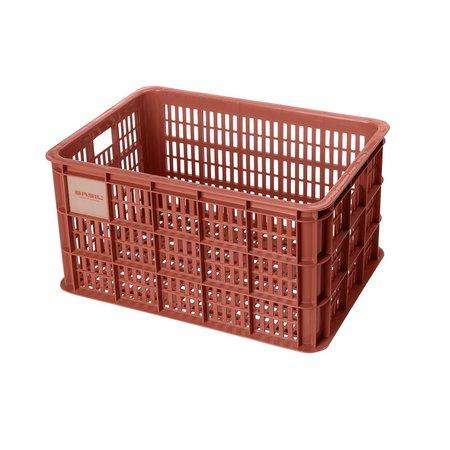 Basil Fietskrat Crate L 40L Terra Red voor MIK/Racktime