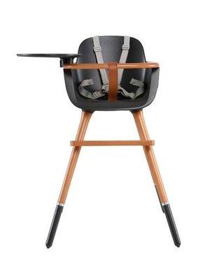 Ovo Ovo highchair - kinderstoel zwart met tray en grijze kunststof riempjes