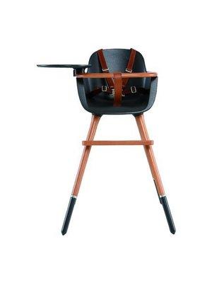 Ovo Ovo highchair - kinderstoel zwart met tray en bruine kunstlederen riempjes