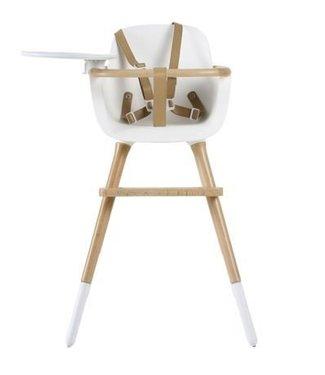 Ovo highchair - kinderstoel wit met tray en bruine kunstlederen riempjes