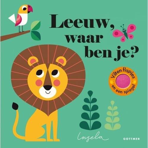 Leeuw waar ben je? Boekje met vilten flapjes en spiegeltje van Ingela