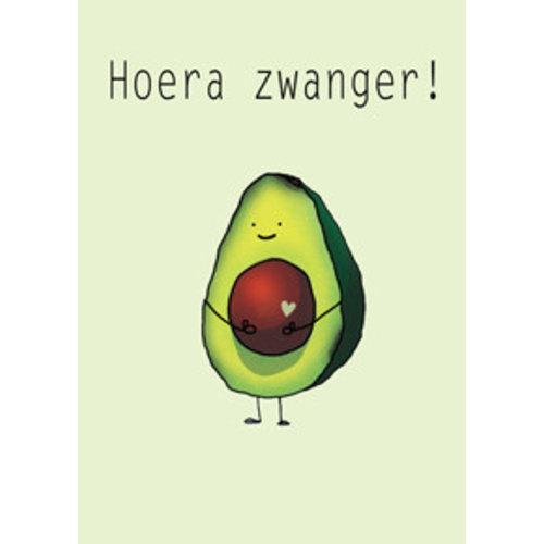 Gnoom Dubbele kaart avocado Hoera zwanger!/ Gefeliciteerd!