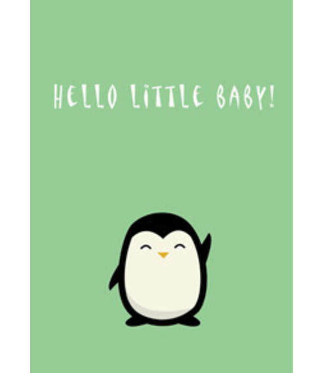 Gnoom Dubbele kaart Pinguïn Hello little baby!/ Welcome to the world!