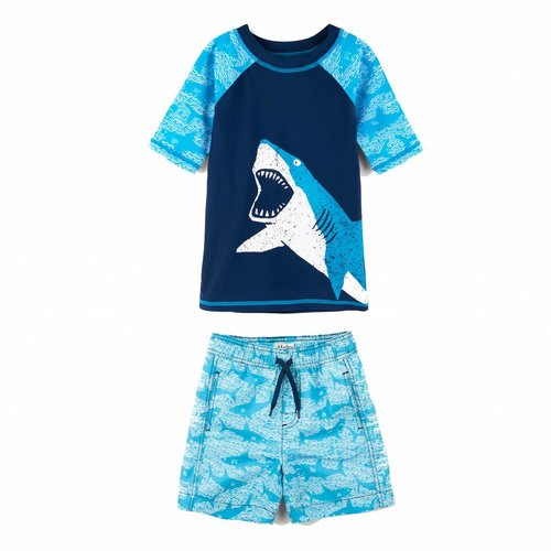 Hatley Mini Rashguard set shorts & shirt 2 - 3 jaar Shark Alley