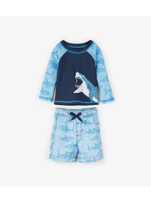 Hatley Shark Alley Mini Rashguard set shorts & shirt