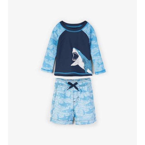 Hatley Baby Rashguard set shorts & shirt 0 - 24 m Shark Alley