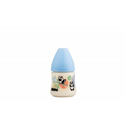 Suavinex Speenfles Panda 150 ml Small siliconen anatomische speen en anti-krampjes systeem Blauw