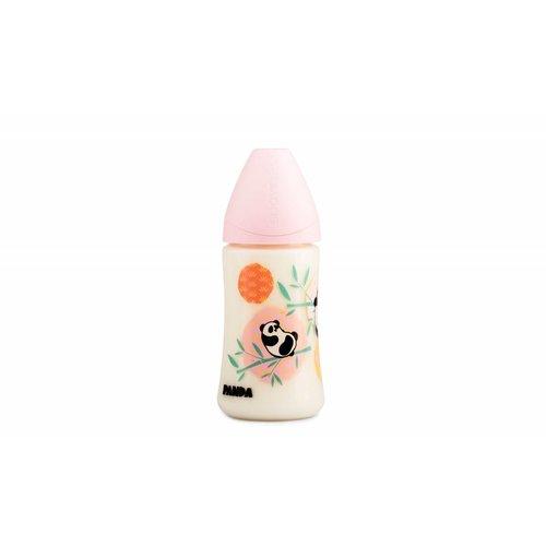 Suavinex Speenfles Panda 270 ml Medium siliconen anatomische speen en anti-krampjes systeem Roze