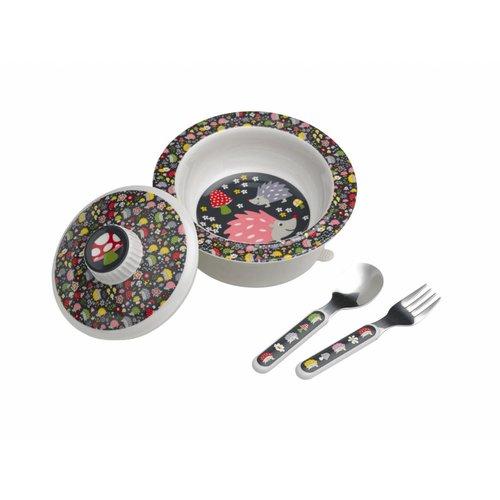 Sugarbooger Sugarbooger Set Babykommetje met zuignap,deksel en bestek Hedgehog