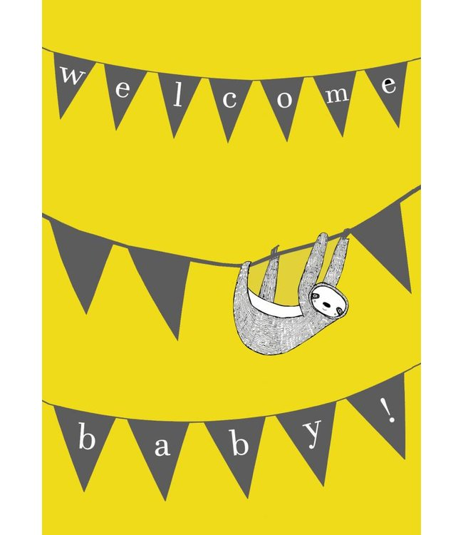 Gnoom Dubbele kaart luiaard Welcome baby/ Hello little one!
