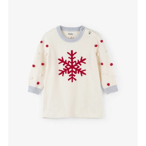 Hatley Hatley Snowflakes met Pompoms baby Sweater Dress