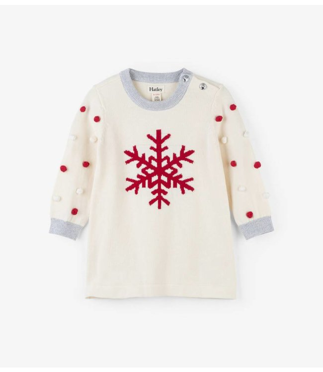 Hatley Hatley Snowflakes met Pompoms baby Sweaterdress