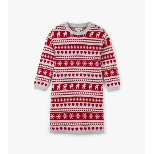 Hatley Hatley Sweater Dress Hertjes Rood, Wit, Zilver