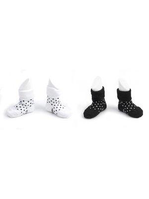 Blijf sokjes met ingebreide blijf- zitten- zones 2 paar Black - White Dots