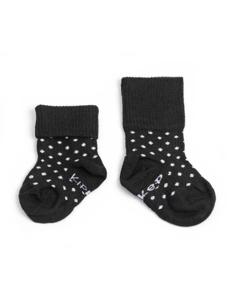 Kipkep Blijf sokjes met ingebreide blijf- zitten- zones 2 paar Black - White Dots