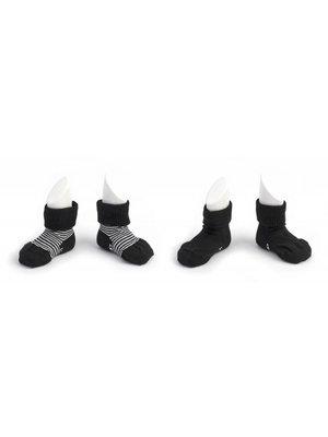 Blijf sokjes met ingebreide blijf- zitten- zones 2 paar Black - Stripes