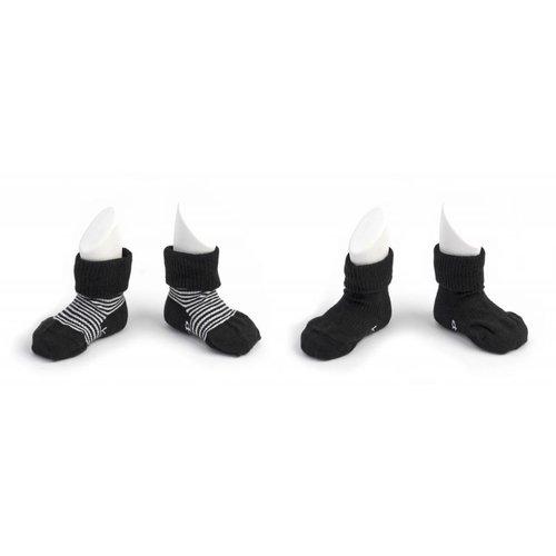 Kipkep Blijf sokjes met ingebreide blijf- zitten- zones 2 paar Black - Stripes