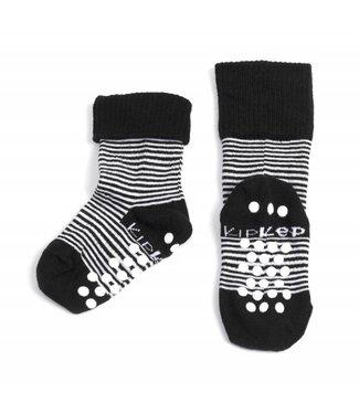 Kipkep Blijf sokjes met ingebreide blijf- zitten- zones met anti-slip nopjes 12 - 18 m 1 paar Black Stripes