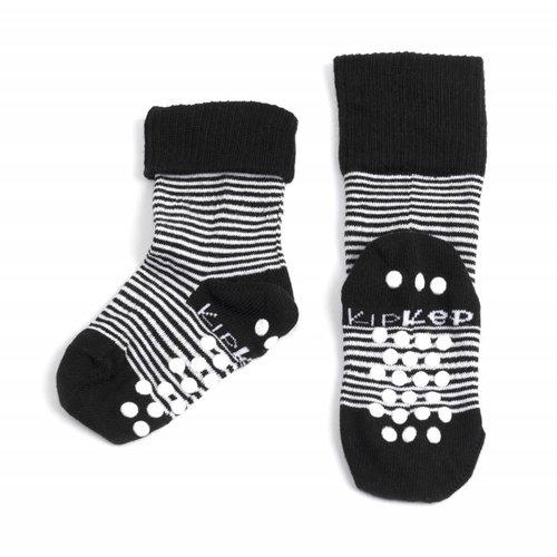 Kipkep blijf sokjes met ingebreide blijf- zitten- zones met anti-slip nopjes 1 paar Black Stripes