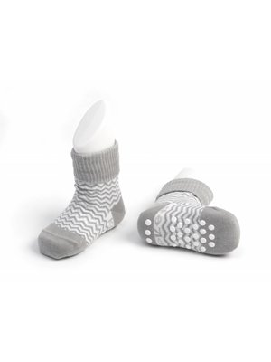 Blijf sokjes met ingebreide blijf- zitten- zones met anti-slip nopjes 12 - 18 m 1 paar Grey Ziggy