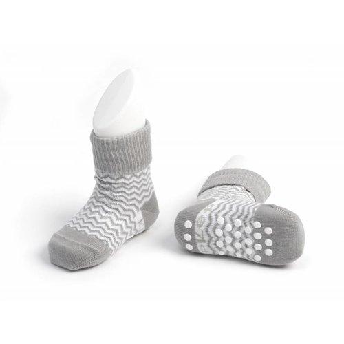 Kipkep blijf sokjes met ingebreide blijf- zitten- zones met anti-slip nopjes 1 paar Grey Ziggy