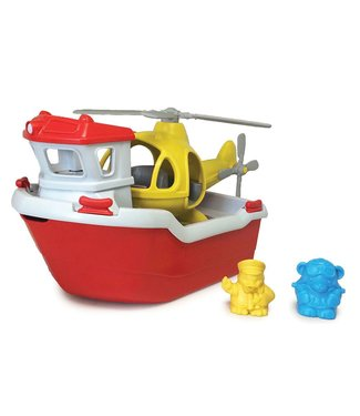 Green Toys Rescue Boat with helicopter - Reddingsboot met helicopter van gerecycled plastic