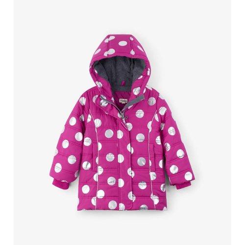Hatley Hatley winterjas met waterproof Teflon coating Roze met zilveren stippen
