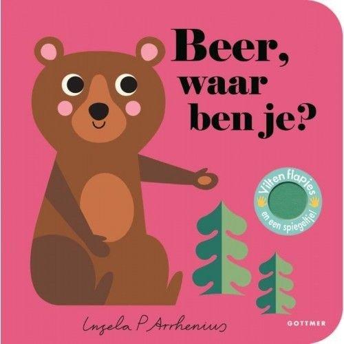 Beer, waar ben je? Boekje met vilten flapjes en spiegeltje van Ingela