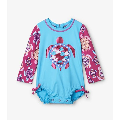 Hatley Badpak met mouwen Pretty Sea Turtles UV Factor 50+