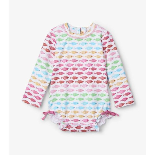 Hatley Badpak met mouwen Watercolour Fishies UV Factor 50+
