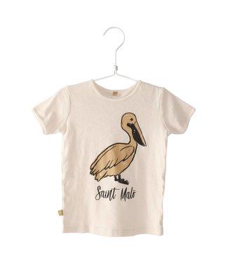 Lotiekids Retro fit T-shirt Saint Malo  Pelican off white