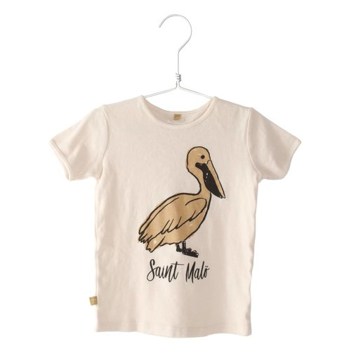 Lotiekids Retro fit T-shirt Saint Malo  Pelican off white