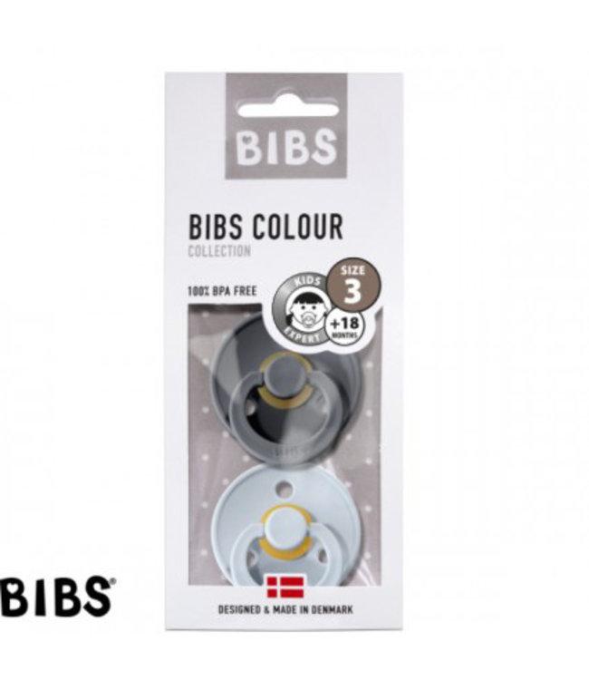 Bibs Bibs speen natuurlijk rubber set van twee maat 3 (+18 maanden) Antraciet grijs/ Baby blauw