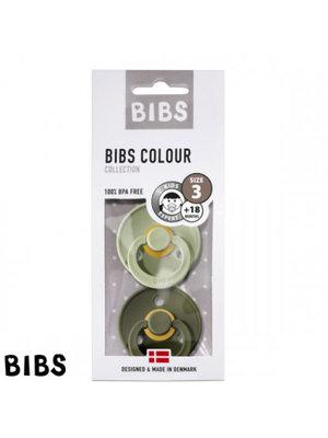 Bibs Bibs speen natuurlijk rubber set van twee maat 3 (+18 maanden) Sage/ Hunter green