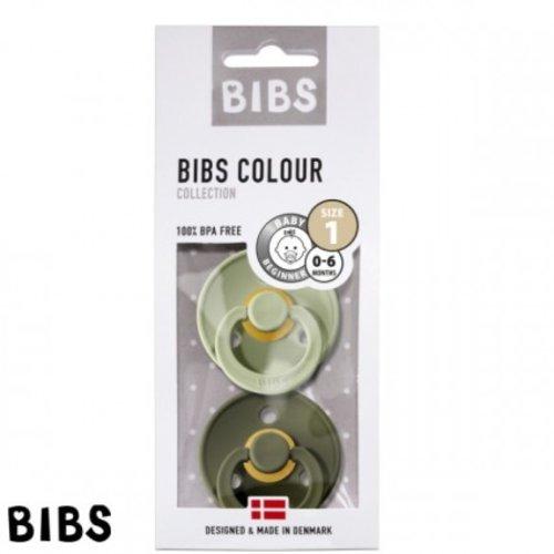 Bibs Bibs speen natuurlijk rubber set van twee maat 1 (0-6 maanden) Sage/ Hunter green