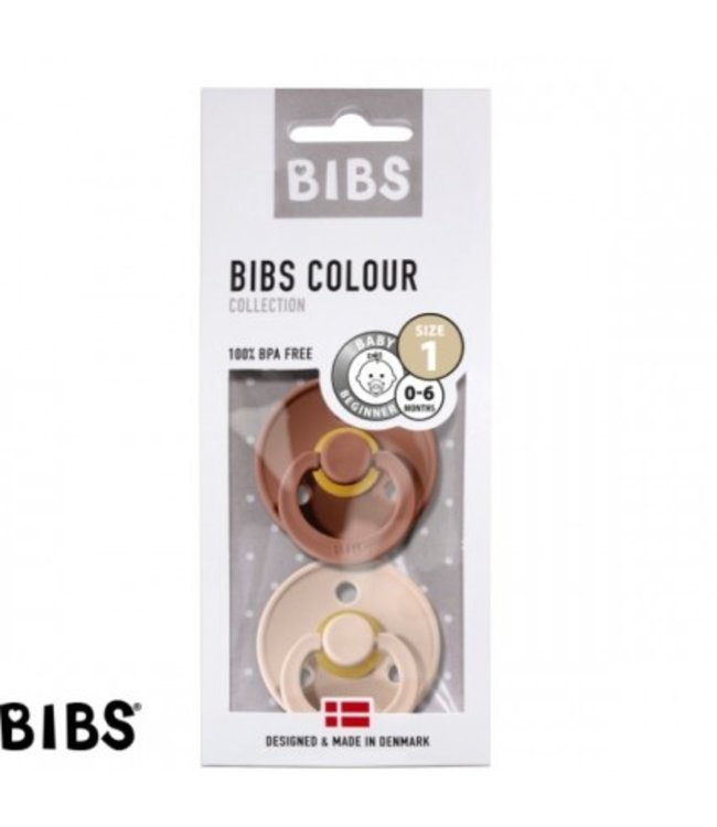 Bibs Bibs speen natuurlijk rubber set van twee maat 1 (0-6 maanden) Blush/ Woodchuck Rose