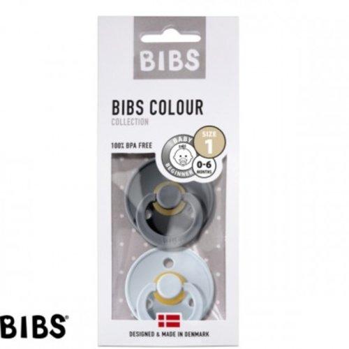 Bibs Bibs speen natuurlijk rubber set van twee maat 1 (0-6 maanden) Antraciet grijs/ Baby blauw