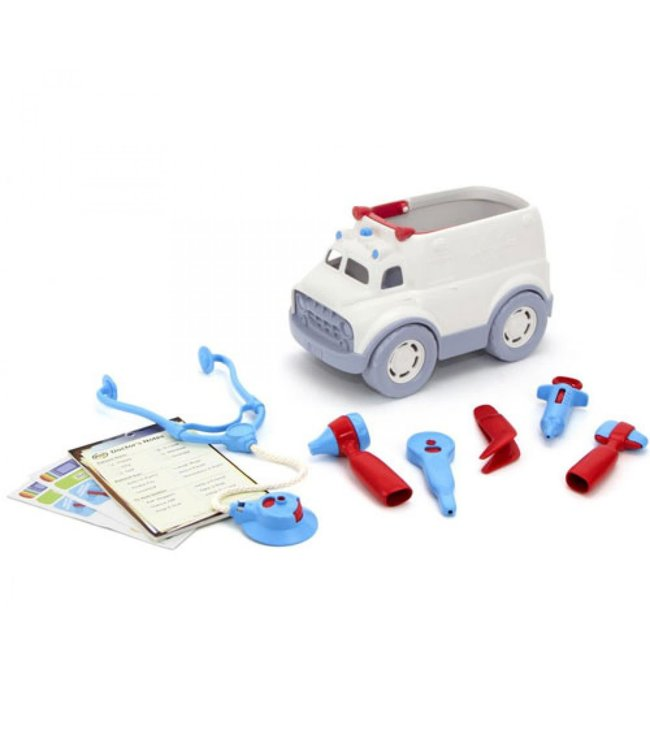 Green Toys Ambulance and doctor's kit - Dokter set (10-delig) met Ambulance van gerecycled plastic