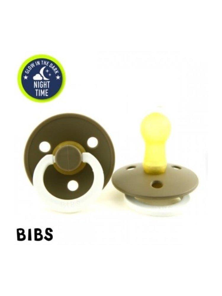 Bibs Bibs speen natuurlijk rubber Glow in the dark Dark Oak maat 2 (6-18 maanden)