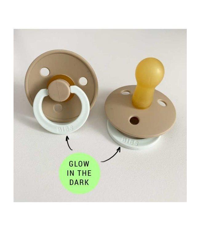 Bibs Bibs speen natuurlijk rubber Glow in the dark Vanille maat 2 (6-18 maanden)