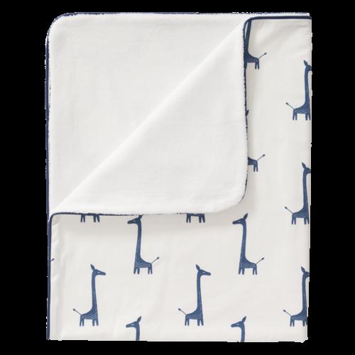 Fresk Fresk Wiegdeken GOTS katoen/velours Giraf Indigo Blue 80x100 cm TOG-waarde 1,6
