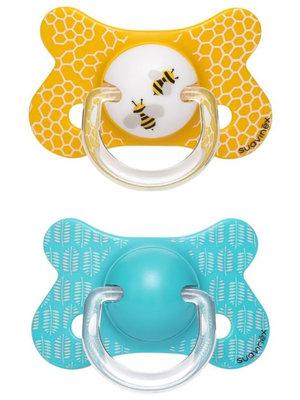 Suavinex Speen - Siliconen -Fysiologisch - +18M Bee Yellow Duo