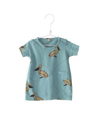 Lotiekids Baby Dress classic fit GOTS Katoen Pelicans turqoise