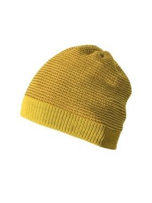 Disana Beanie - Gebreid mustje GOTS wol Curry-Gold