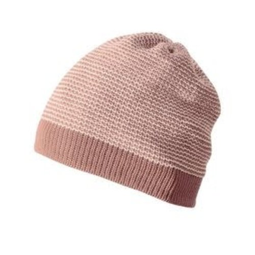 Disana Beanie - Gebreid mustje GOTS wol Rose- Natural