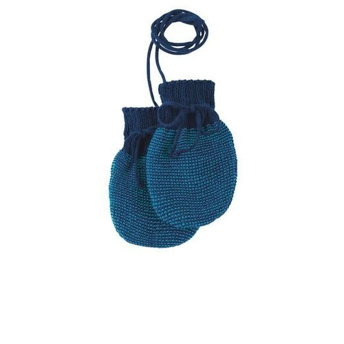 Disana Baby handschoenen gebreid GOTS wol Navy- Blue