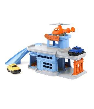 Green Toys Parking Garage - Parkeer Garage met helicopter en auto's van gerecycled plastic