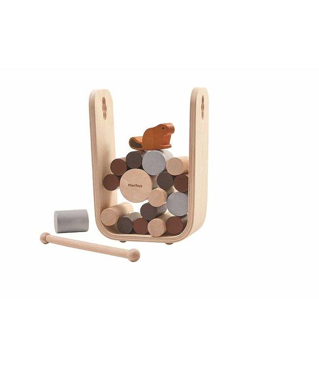 Plan Toys Timber Tumble - Bever boomstammen behendigheidsspel