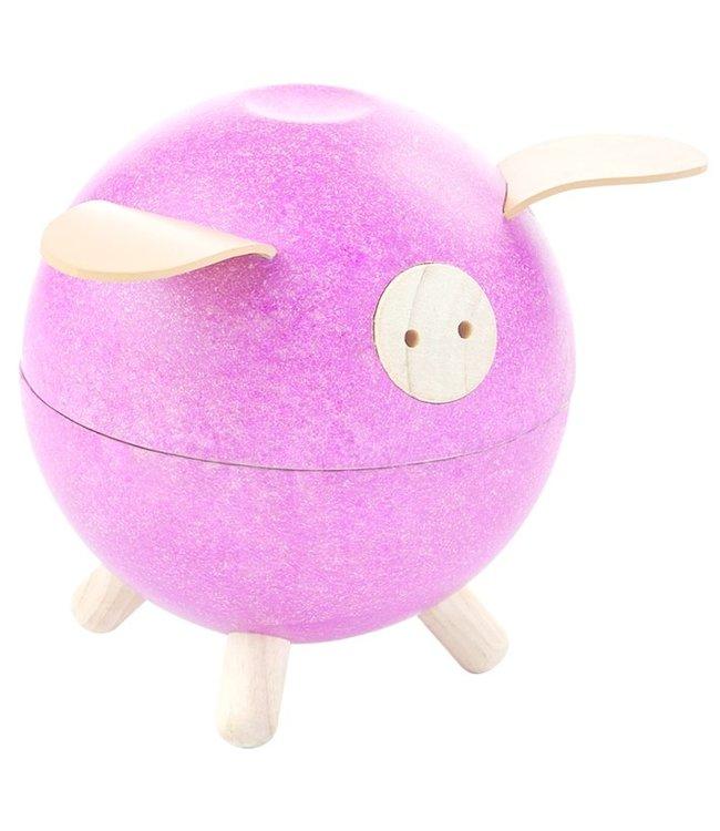 Plan Toys Piggy Bank spaarpot Roze van duurzaam hout