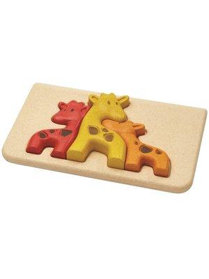 Plan Toys Houten relief puzzel Giraf van duurzaam hout